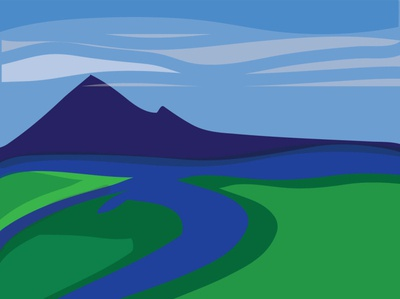 landscape landscape illustration landscape green blue minimal