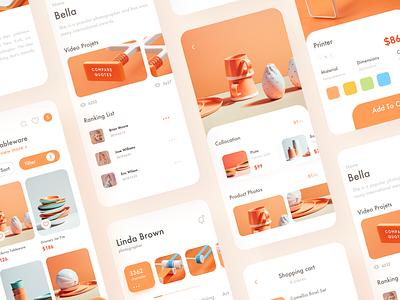 shopping app 图标 orange ceramic shopping app illustration icon ux ui design branding app