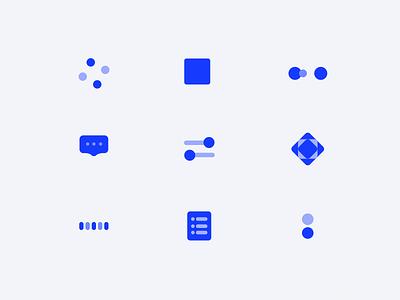 Blue Icon mg controls button geometric icons blue animation component typography web logo icon illustration ux ui design app