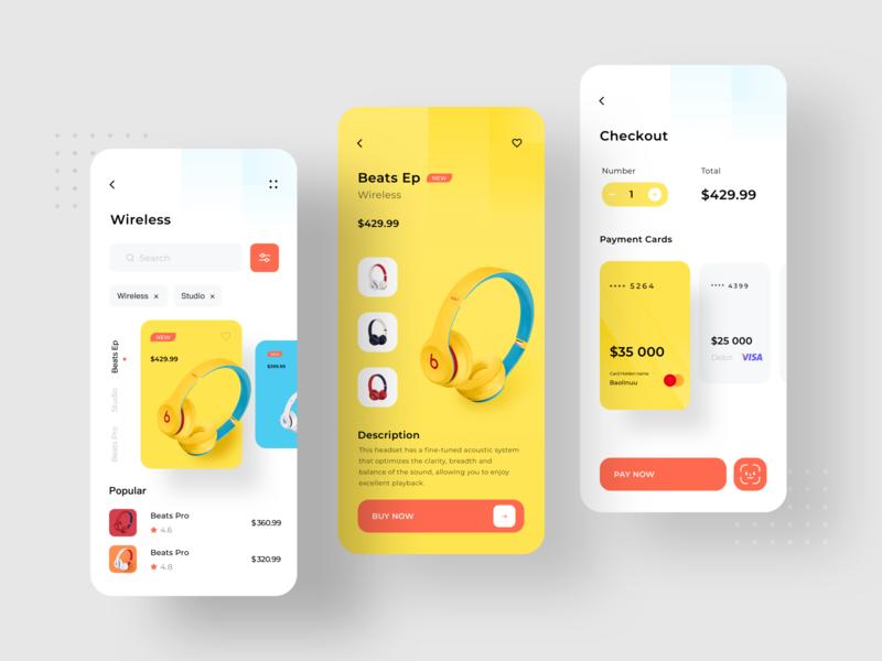 Beats Headphones App while orange red studio card pay pro shopping blue yellow logo icon app ux ui design