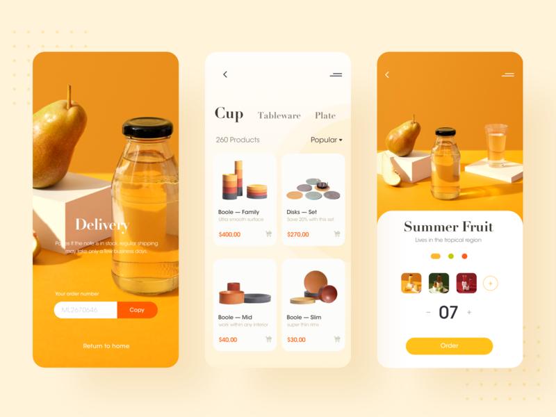 Summer fruit app ux design ui design delivery popular plate tableware cut order yellow uidesign shopping type minimal flat vector design app ux ui
