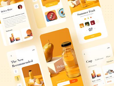 Summer fruit app delivery app vector order shopnging popular debut flat cut minimal branding illustration designer type yellow app uiux delivery ux ui ui design