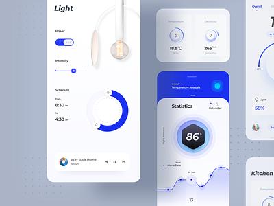 Smart Home App 02 icon design smart home home smart app ui ui design ux design app design data kitchen clean house light interior lamp blue decoration