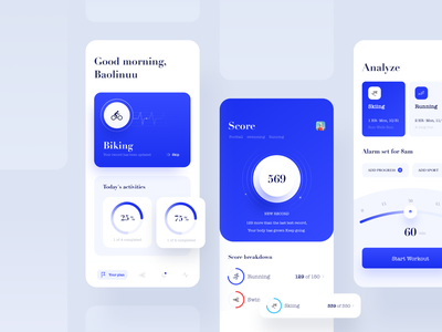Sports app- Biking workout plan running blue biking sports app workout app product design product mobile minimal interaction design fitness design application app