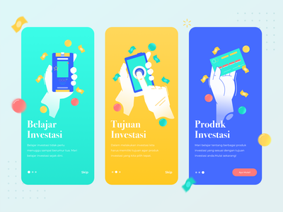 Stock investment app- guide page skip management financial landing yellow green icon illustrator blue typography ux design ui branding illustration app guide page