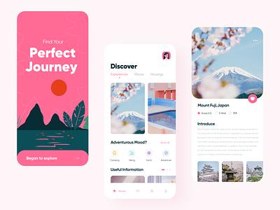Travel app flat website clean typography trip interface golden grid color concept application illustration design ui app travel app