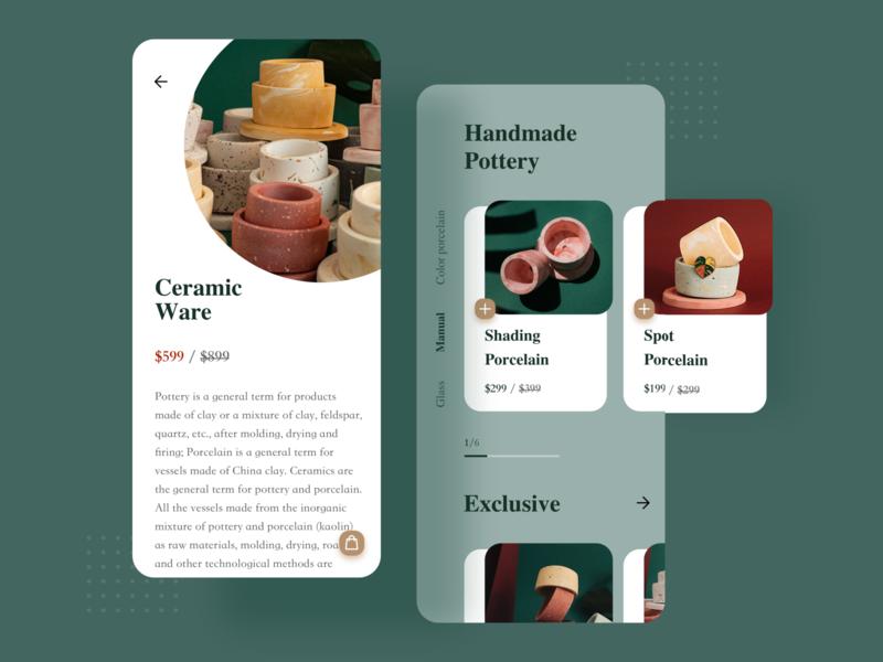 Ceramic Customization App web design website web transaction teapot porcelain image embellishment decoration ui icon design clean ceramic blur green art app