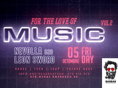 For The Love Of Music club illustration poster festival poster event branding event event agency club night club party design club flyer club flyers branding animated