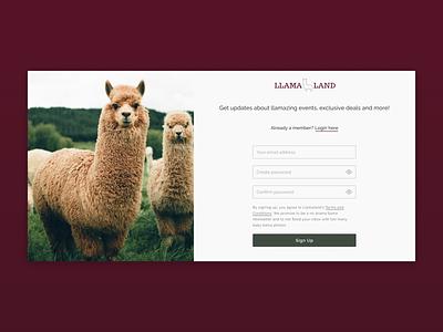 Sign Up Page- Llama land sharpen.design branding clean design website ux ui challenge ui