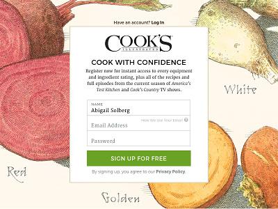 Registration Modal For Cook's Illustrated Online sketch form design register ui