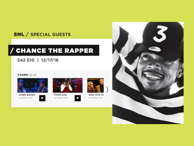 Guest Profile | Daily UI Day 6 desktop day 6 daily ui chance the rapper snl profile