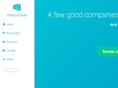Fistful of Skills screen shot website blue design sidebar navigation