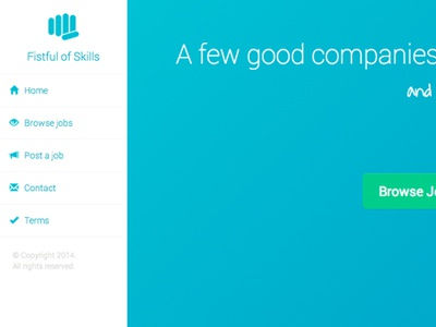 Fistful of Skills screen shot website blue design sidebar navigation