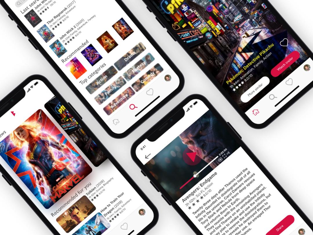 Movie App, XD Daily Creative Challenege, May 2019 userinterface adobexd xddailychallenge movie app movie ui mobile design mobile app design mobile design app adobe xd