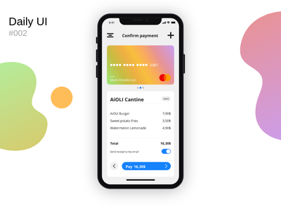 Daily UI #002 dailyui002 002 card confirmation payment pay credit card checkout daily ui ui mobile design mobile app design mobile design app adobe xd