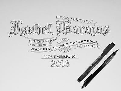 Birthday Invitation sketch pencil ink birthday