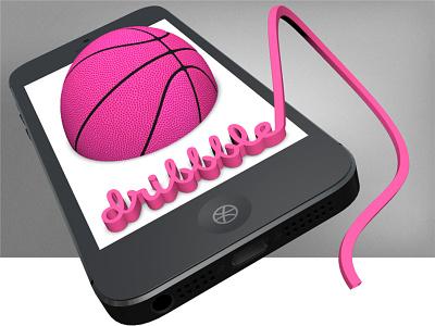 Dribbble 3D 3d iphone basketball