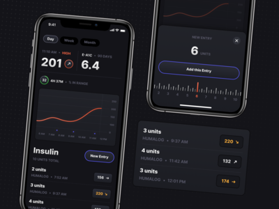 Pumped — Glucose & Insulin Logging, A Diabetes Care App entry patients medicine ui dashboard mobile ui diabetes interface iphone ios app tracking mobile blood sugar insulin health ios