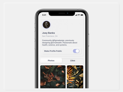 Profile for a Social Image Feed ios purple design images feed neumorphism neumorphic interface design grid layout profile app