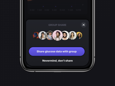 Sharing Data — Glucose & Insulin Logging dark iphone confirmation data network friends group health interface app diabetes