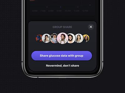 Sharing Data — Glucose & Insulin Logging dark iphone confirmation data network friends group health interface app diabetes