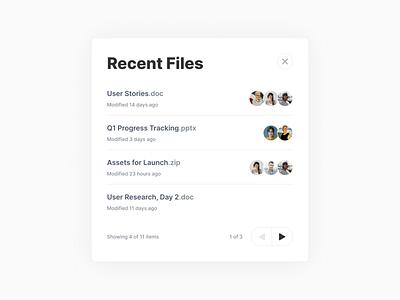 Recent Files Widget ui interface design widget pagination storage users browser files