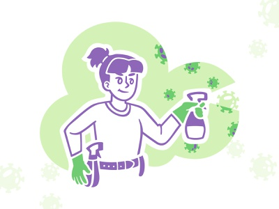 Cleaning and Disinfection speedpaint sketch purple green protection covid19 coronavirus cleaning disinfection girl vector procreate illustrator illustrations