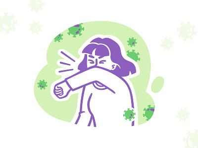 Sneezing sketch speedpaint green purple sneeze coronavirus covid19 girl vector procreate illustrator illustrations