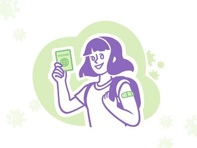 Vaccination passport speedpaint covid19 coronavirus vaccine green purple passport girl vector procreate illustrator illustrations