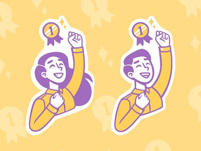 Success victory shine medal yellow purple success boy girl speedpaint sketch vector procreate illustrator illustrations