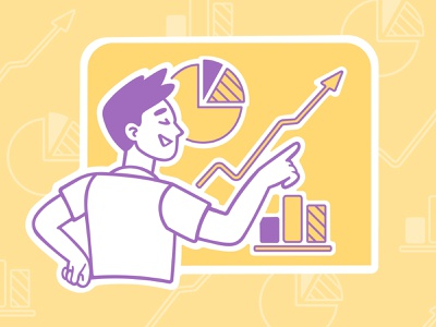 Infographics statistics graphs success chart infographic yellow boy gay purple speedpaint sketch vector procreate illustrator illustrations
