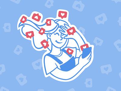Wave of likes wind wave profile instagram social network phone red blue sketch girl speedpaint vector procreate illustrator illustrations