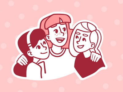 Friendship friendship friends illustration sketch red pink girls speedpaint vector procreate illustrator illustrations