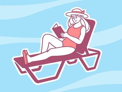 Girl on a Sun Lounger sunbed hat sunset summer book pink blue girl speedpaint vector procreate illustrator illustrations
