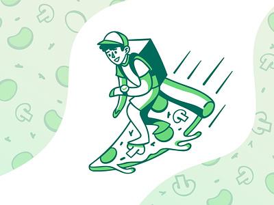 Pizza Deliveryman surfing man delivery pizza merculove green illustration sketch speedpaint vector procreate illustrator illustrations