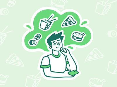 Choice of food merkulove cheeseburger rolls sushi wok pizza food delivery man sketch speedpaint vector procreate illustrator illustrations