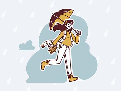 Autumn Rain illustration autumn fall run gif animation rain yellow koshutrina merkulove girl sketch speedpaint vector procreate illustrator illustrations