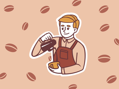 Barista Prepares Coffee animation gif tea barista cafe coffee brown koshutrina merkulove boy illustration design sketch speedpaint vector procreate illustrator illustrations