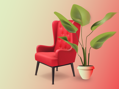 stay home 2d image art armchair plant draw chair illustration design vector