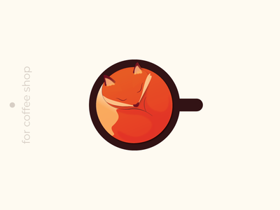 coffee shop logo fox cup coffee art 2d logotype logo illustration vector design