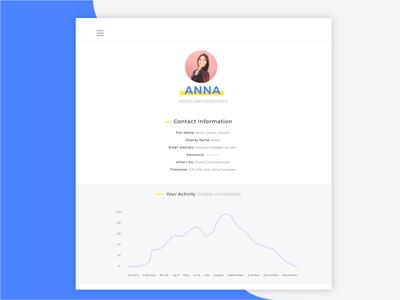 Task App Profile/Account Page minimalist minimalism app white space ux design ui design