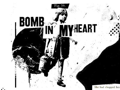 Collage. Bomb in my heart. texture illustration minimalist collage