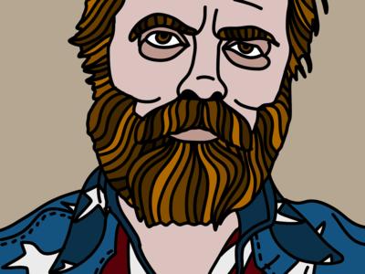 NICK HOFFERMAN movie many hair beard design art megazine palette cinema illustration