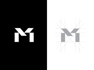 M Letter Mark grid layout personal branding art m letter logo vector design branding letter logo logo geometric