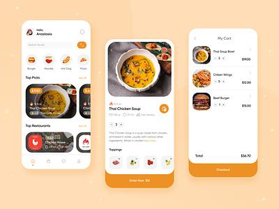 Food Delivery Mobile App mobile app ui design dribbble best shot burger pizza food app ui ux design clean ui restaurant app app food app design food delivery app food app mobile ui