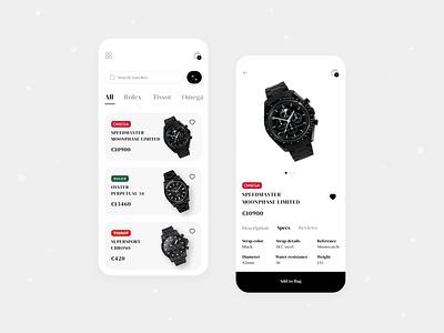 Watch Shop App watch app luxury clean ui dribbble best shot mobile online shopping watch store watch shop watch ecommerce ios mobile app ux ui design ui