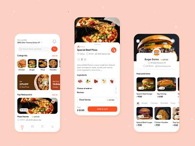 Food Delivery App food delivery app pizza burger clean ui app food design mobile app food app uiux ux mobile ui