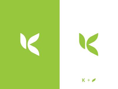 K Logo Mark k mark natural letter logo organic leaf logo