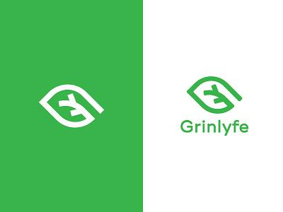 Grinlyfe (G+ Leaf) ayurvedic letter g letter logo feminine natural eco friendly leaf green geometric organic branding logo