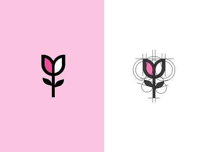 Tulip branding pink simple logo gardening logo design flower feminine geometric tulip